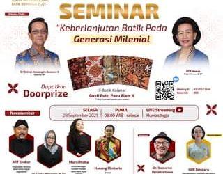 "IKUTI FREE WEBINAR  ""Keberlanjutan Batik Pada Generasi Milenial"" dalam rangka …"