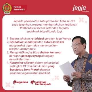 Gubernur DIY Sri Sultan Hamengku Buwono X menegaskan kembali agar masyarakat m…