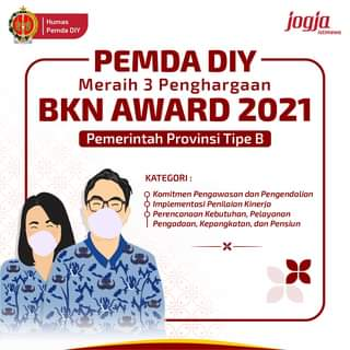 Pemda DIY berhasil meraih 3 kategori penghargaan pada BKN Award 2021 yang dise…